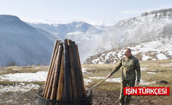 Aliyev, 28 yıl sonra işgalden kurtarılan Şuşa'da Nevruz ateşini yaktı