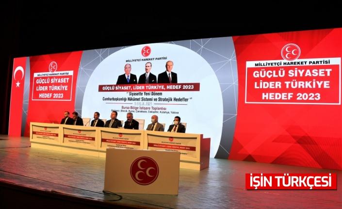 """MHP'nin """"Güçlü Siyaset, Lider Türkiye, Hedef 2023"""" toplantılarının ilki Bursa'da yapıldı"""
