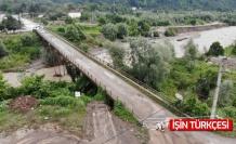 Sel felaketinde 7 mahalleyi bağlayan köprünün ayaklarında hasar oluştu