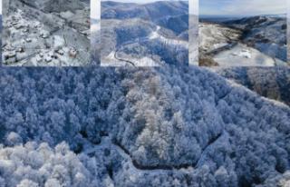 Sakarya'da karla kaplanan Çam Dağı görsel...