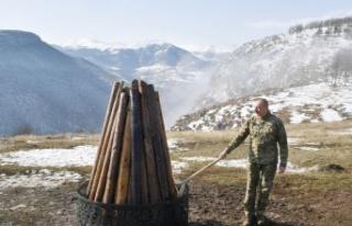 Aliyev, 28 yıl sonra işgalden kurtarılan Şuşa'da...