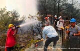 Bakan Özer'den, yangınla mücadeleye katılan...