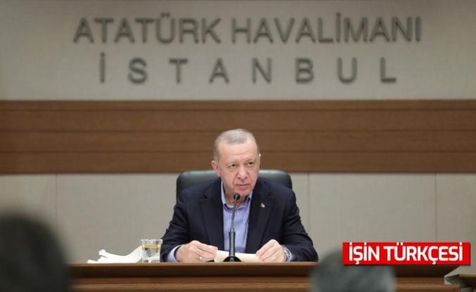 Cumhurbaşkanı Erdoğan Atatürk Havalimanı'nda basın toplantısı düzenledi